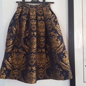 Navy and Gold Baroque Midi Skirt